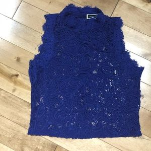 Another Story Royal blue lace mock neck crop top